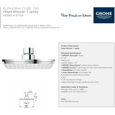 Grohe 27705000 Euphoria Cube Shower Head Polished Chrome - eFaucets.com