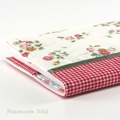 Fabric Journal Cover - Rose Garden - A6 Notebook, Diary - Romantic Pink Red Flowers With Green Satin Ribbon and Red Gingham, Journal by PatchworkMill