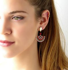 Hey, I found this really awesome Etsy listing at https://www.etsy.com/il-en/listing/565129041/black-red-earrings-stud-dangle-earring