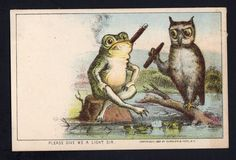 RARE ORIGINAL 1880 CURRIER & IVES TOBACCO SERIES TRADE CARD - FROG & OWL