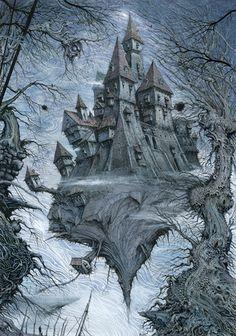 Adrift 1 site by Ian Miller Fantasy Castle, High Fantasy, Sci Fi Fantasy, Illustrator, Warhammer Fantasy, Warhammer Aos, Fantasy Illustration, Pen Illustration, Dark City