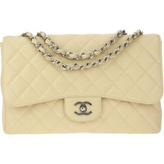 Pre-owned Chanel Beige Caviar Leather Jumbo Single Flap Bag (11.365.730 COP) ❤ liked on Polyvore featuring bags, handbags, shoulder bags, leather pouch, chanel shoulder bag, chain strap shoulder bag, leather shoulder handbags and woven leather handbags