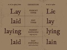 To lay vs. to lie.