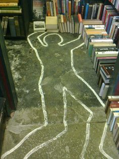 The crime section of Murder & Mayhem bookshop in Hay on Wye. I love this place.