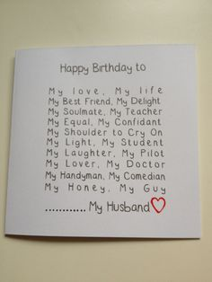 Quotes For Birthday Cards Surprise Husband Happy Romantic 30