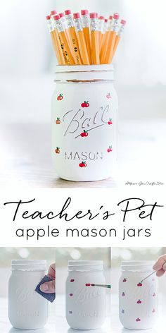 Painted Apple Mason Jar - Mason Jar Crafts Love
