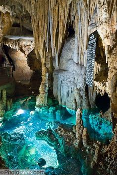 The Wishing Well glows blue-green at Luray Caverns, Virginia #travel #usa #virginia