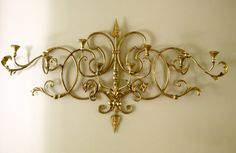 SALE - Large Vintage Gilt Italian Tole Sconce with Candle Holders, Hollywood Regency, Mid Century