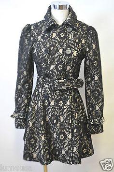 bebe-Dress-TRENCH-XS-COAT-Black-FLoral-Lace-Buckle-collar-jacket-Nude-Designer