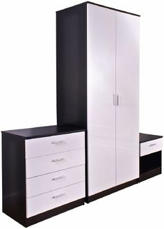 Ottawa 3 Piece Black And White High Gloss Bedroom Set Bedside Cabinet, Tall Cabinet Storage, Locker Storage, Modern Bedroom Furniture, Cheap Furniture, 2 Door Wardrobe, Urban Architecture, Bedroom Sets, High Gloss