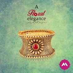When you have to make a power statement, opt for this 22 kt-base single kada with a pristine ruby stone in the center. Gold Ring Designs, Gold Bangles Design, Gold Jewellery Design, Gold Jewelry, Chunky Jewelry, Ruby Stone, Manish, Antique Jewelry, Blouse