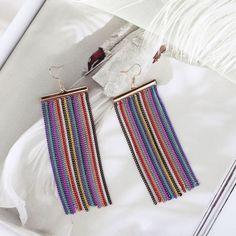 Neon Tassel Long Chain Earrings Dangle Curtain
