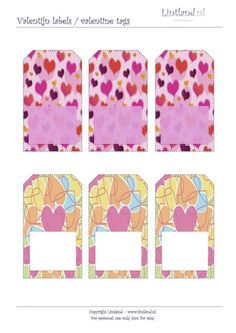 Labels / Tags - Lintland    Valentijn labels, gratis afdrukken,   Valentine tags, free printable - freebies Pop Tag, Labels, Babyshower, Free Printables, Valentines, Quilts, Blanket, Tags, Frame