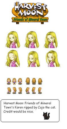 Game Boy Advance - Harvest Moon: Friends of Mineral Town - Karen Karen Harvest Moon, Harvest Moon Btn, Game Character, Character Design, Pixel Characters, I Love Games, Slayer Anime, Doodle Drawings, Cute Gif
