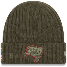 Tampa Bay Buccaneers New Era Youth 2017 Salute To Service Cuffed Knit Hat –  Olive 619bc298a0df