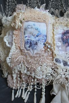 My Fabric and lace journal. Dyed with dylon desert dust