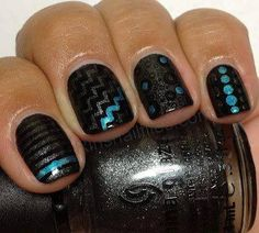 love the pop of blue on the black, need to get black sparkle polish so I can do this!