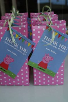 My daughter like many toddlers is obsessed with Peppa Pig so for her second birthday this year we threw her a Peppa Pig Party. Being a busy working mum things often get left to the last … Fiestas Peppa Pig, Cumple Peppa Pig, Third Birthday, 4th Birthday Parties, Birthday Fun, Rosalie, Party Decoration, Party Bags, First Birthdays