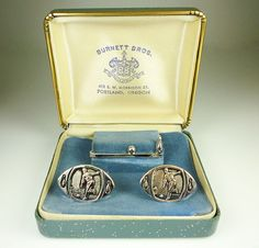 Vintage Cufflinks Tie Clip Burnett Brothers by zephyrvintage, $39.00 #vintagecufflinks #vintageaccessories #vintagemenscufflinks #vintagejewelry #bowling #pacificnorthwest #seattle #kitsch #souvenierjewelry