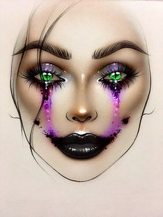 ♡ Makeup Face Chart by ♡ Demon Makeup, Mac Makeup, Mac Face Charts, Cute Halloween Makeup, Makeup Illustration, Makeup Face Charts, Makeup Drawing, Creative Eye Makeup, Crazy Makeup