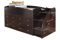 Dark Brown Embrace Loft Storage Bed with Right Steps by Ashley Furniture
