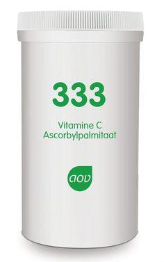 AOV Voedingssupplementen 333 Vitamine C als Ascorbyl Palminaat 60 gram - Vitamine C als ascorbyl palmitaat bevat een verbinding van palmitinezuur en ascorbinezuur die vetoplosbaar is. Ascorbyl palmitaat is daarom vooral interessant voor gebruik in weefsels met een voorkeur voor vetzuren. Nu verkrijgbaar in een handige poederpot. Hierdoor meer gebruiksgemak omdat het makkelijker is om het poeder eruit te scheppen.