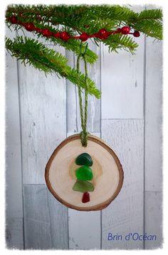 Sea glass Christmas ornament Beach glass art