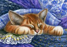 Cats And Fabrics Blue Fabrics Irina Garmashova Cats