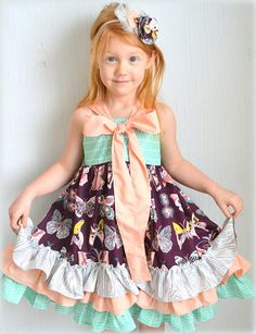 Little Girl's Boutique Ruffle Dress With Bow by GirlWithATwirl