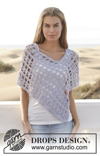 "Crochet DROPS poncho in ""Paris"". Size: S - XXXL. ~ DROPS Design"
