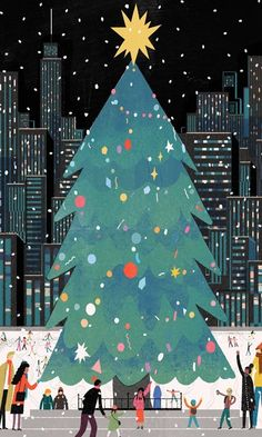 Christmas Tree in the City illustration Stick With Me Chocolate — Lisk Feng Christmas Poster, Noel Christmas, Christmas Cats, Vintage Christmas, Christmas Artwork, Christmas Graphics, Christmas Quotes, Christmas Pictures, Christmas Decor