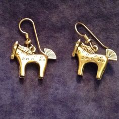 Fun Gold Tone Horse Earrings by FancyThatBlingCo on Etsy