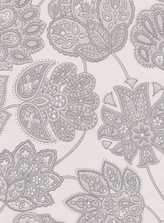 Taikayö - grey/white Tapettitehdas Pihlgren ja Ritola Oy Lace Print, Pattern Paper, Print Patterns, Flora, Texture, Ornaments, Interior, Fabric, Prints
