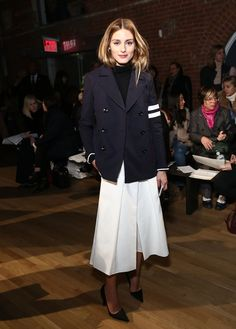 Pin for Later: 43 Styling Tricks We Learned From Olivia Palermo in 2015 Pleated Culottes Give Off the Illusion of a Midi Skirt Contrast them with a sporty blouse.