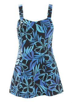 Swim 365 Plus Size Swimsuit in print with skirt Swim365