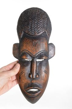 Old Vintage Hand Carved Wooden Face Mask Ethnic Wood Carving Mild And Mellow Collectibles