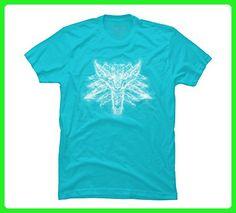 Smoky Wolf Men's Medium Ocean Blue Graphic T Shirt - Design By Humans - Animal shirts (*Amazon Partner-Link)