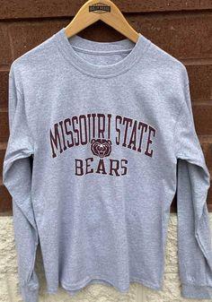 Missouri State Bears Grey #1 Design Long Sleeve T Shirt - 15139174 Bear T Shirt, Great Books, Missouri, Blues, Long Sleeve, Shirts, Shopping, Design, Long Dress Patterns