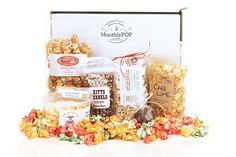 MonthlyPOP is a gourmet popcorn club. We curate a delicious variety of 5 or more hand-crafted popcorns and deliver them right to your door every month. Gourmet Popcorn, Subscription Boxes, Lime, Place Card Holders, Food, Heaven, Search, Sky, Lima