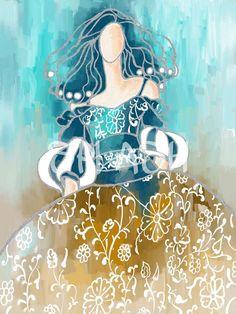 Cuadro de Menina moderna turquesa y ocres abstracto decorativo SP190