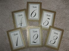 Gold Glitter Wedding Table Numbers Double Sided by WeddingSparkles