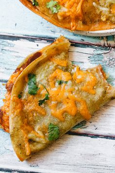Baked Green Enchilada Bean and Cheese Quesadillas
