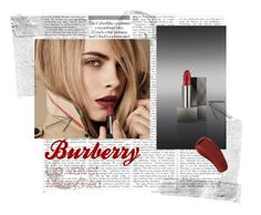 """Burberry"" by xgracieeee ❤ liked on Polyvore featuring beauty, Burberry, Hourglass Cosmetics, red, LIPSTICK and CaraDelevingne"