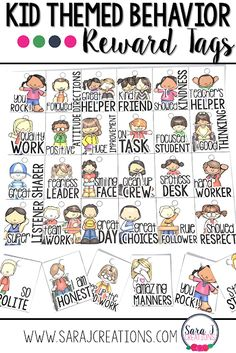 Reward your students for their awesome behavior with these kid themed reward tags. Celebrate positive behaviors in your classroom with these tags! Student Rewards, Behavior Rewards, Student Behavior, 2nd Grade Teacher, Teaching First Grade, Teaching Kindergarten, Preschool, Behavior Management System, Classroom Management Tips