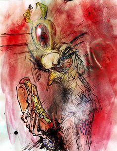 "https://flic.kr/p/89iPB6   Sun god is the fun god Ra Ra Ra!   8.5""x11"", ink, crayon, spray, and watercolor on paper."
