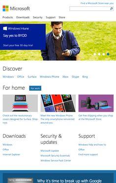 microsoft.com homepage for tablet, responsive, clean, simple