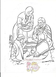 American Indian Meal Coloring Page FREEBIE from A Kinders Garten Vintage on TeachersNotebook.com -  - American Indian Meal Coloring Page FREEBIE