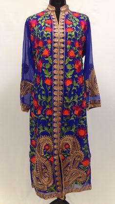 Thread Work Embroidery Kurta - Blue & Golden