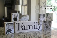 Love these family photo blocks! For the mantle? #craft