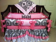 Baby Bedding Crib set Damask /Pink Satin 4 PC You by katyasdesigns, $399.00
